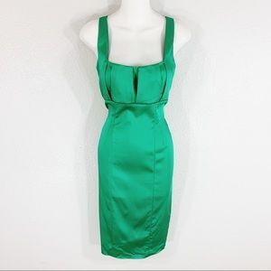 Calvin Klein green sheen pleat bust sheath dress